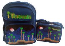 "TERRARIA Boys 16"" School Large Blue Backpack & Lunch Bag 2 pc set Boy Bags"