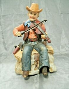 Waco Melody in Motion WILLIE THE FIDDLER Hobo Clown Painted Bisque Working Box