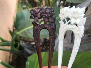 Baroque Victorian Filigree WOOD Hair Pin Hair Stick.COW BONE Hair Stick Hair PIN