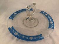"Floral Blue & Clear Glass Handled Serving Platter 10-1/2"" Diameter"