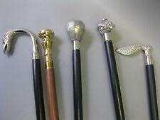 5 Walking Sticks Walking Stick Cane Silver Black Set Convolute Collection