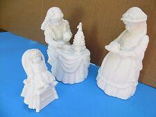 "Department 56 Winter Silhouette ""Christmas Tea"" White Porcelain Set of 3 Mint"