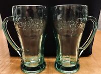 2 Vintage Coca Cola Thick Heavy Soda Float Glasses Mugs With Handle