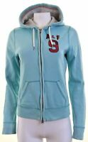 ABERCROMBIE & FITCH Womens Hoodie Sweater Size 16 Large Turquoise Cotton  IK02