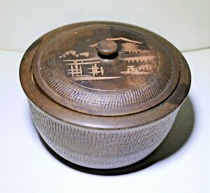 Vintage Wooden Treen Ware Round Box With Lid Japanese Trinket Bowl Home Decor