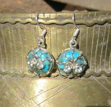 Earring Turquoise Spider Copper Blue With Eyes of Topaz Sterling Silver 925