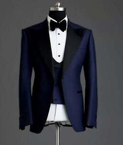 Men Blue Suit Groomsmen 3 Piece Tuxedo Wedding Dinner Suit(Coat+Waistcoat+Pant)
