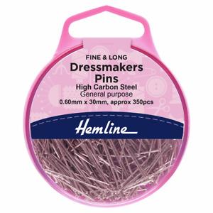 HEMLINE Long Dressmakers Dressmaking 350 Fine Sewing Pins 30mm x 0.60mm H701