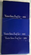 3 Us Proof Sets ~ 1968 1969 1970 ~ Halves 40% Silver ~ 1970-S Cent Small Date?