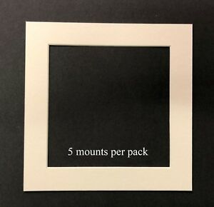 10 X 10 Inch White Mounts to fit 8 x 8 Photo or Picture - pack of 5