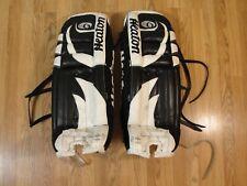 "Vintage Heaton Helite Six 3800 Goalie Hockey Pads 31"" Black White"