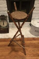 Antique Victorian Bamboo Tortoise Shell Tripod Plant Stand