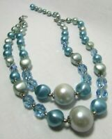 Vintage Faux Blue Pearl Aurora Borealis Bead Double Strand Necklace Glam Bling