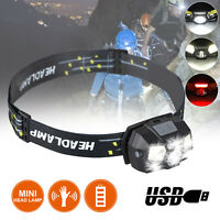Super-bright COB LED Headlamp USB Rechargeable Headlight Flashlight Head Torch