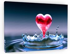 LOVE HEART WATER SPLASH CANVAS PICTURE PRINT WALL ART CHUNKY FRAME LARGE 786-2