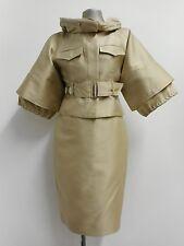 Beautiful gold skirt suit & belt by Charles Chang-Lima silk mix wedding 4 UK10