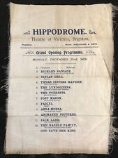 More details for brighton hippodrome theatre of varieties 1902 grand opening silk programme