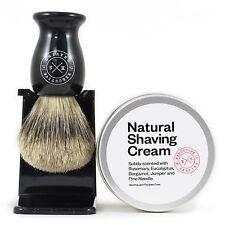 Executive Shaving Naturale Depilazione Panna E Nero Super Badger Set Pennelli