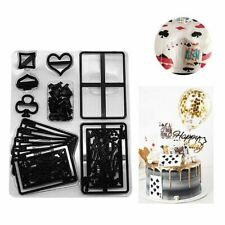 28Pcs Plastic Poker Cards Embossing Cake Mold DIY Cookie Cutter Decorating Tools