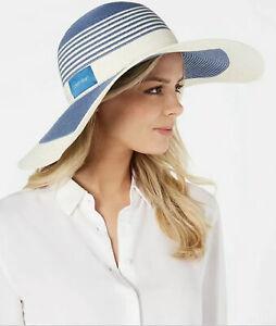 NWT! CALVIN KLEIN colorblock striped wide brim women's sunhat - White and Blue