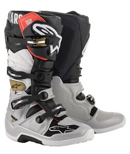 Alpinestar Adult TECH 7 Motocross Boots Silver White Gold - All Sizes