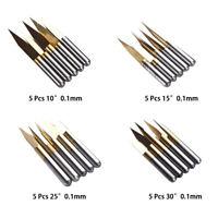 20 Stk. Titanbeschichteter CNC-PCB-Gravierfräser 10 ° 15 ° 25 ° 30 ° 0,1 mm V