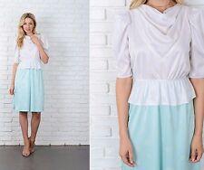 Vintage 70s White + Mint Color Block Dress Peplum Puff Sleeve Polka Dot XS S