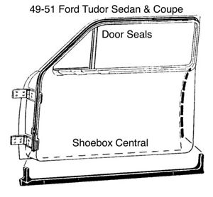 1949 1950 1951 Ford Coupe Tudor 2 Door Rubber Weatherstripping Door Seals
