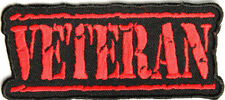 VETERAN MILITARY STAMP LETTERS RED PATRIOTIC IRON ON PATCH