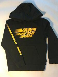 Vans New Racers Edge Hooded Pullover Sweatshirt Black Youth Boy's 5/M