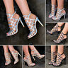 Ladies Diamante Cut Out Sandals Peep Toe Shoes Strappy Heels Caged Size H20301