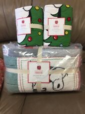 Pottery Barn Kids Peanuts Snoopy Full Queen Holiday Quilt Euro Shams Christmas