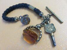 Antique Victorian All Original Hair ? Watch Chain w Spinner Fob Key Wax Seal
