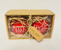Rae Dunn Ornaments MERRY & BRIGHT Christmas Set of 2 Boxed Gift Ceramic Xmas NEW