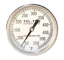 """Tel-Tru BQ300 BBQ Grill /& Smoker Thermometer Gauge 3/"""" Dial 2.5/"""" Stem BRZ"""