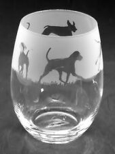 More details for weimaraner frieze boxed 36cl crystal stemless wine / water glass