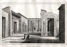 POMPEI:Casa del Poeta Tragico.Regno delle Due Sicilie.ACCIAIO.Stampa Antica.1838