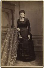 LADY IN BEAUTIFUL SATIN DRESS BY SCOLES, FREDERICKTOWN, OHIO, CABINET CARD