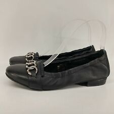 Heavenly Feet Ladies Pumps UK 5 Black Soft Leather Flats Anti-Fatigue Low Heel