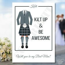 Will You Be My Best Man Usher Groomsman Scottish Kilt up Invitation Invite Card