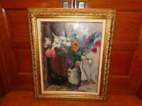 Vintage 1925 Oil on Canvas Still Life Flower Painting by Willem Jansen