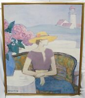 """Wonderful Large Framed GEORGE XIONG Print On Canvas Lighthouse Bay 20"""" x 24"""""""
