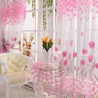 Pink Tulpe Geblümter Schal Durchsichtig Voile Tür Fenster Vorhang Dransein Panel