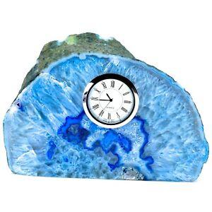 Blue Polished Agate Stone Slab w Silver Tone Clock for Desk Shelf or Mantle (V2)