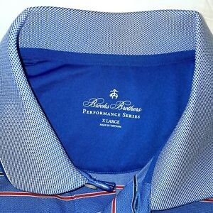 Brooks Brothers XL BLUE Men's Performance Series Golf Polo Shirt Birds Eye