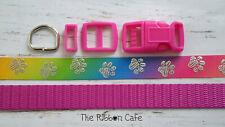 Silver paws on rainbow small dog collar kit 15mm
