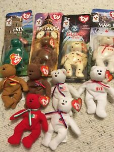 Set of 10 McDonald's Teenie Beanie Babies Bears NRFP/Mint