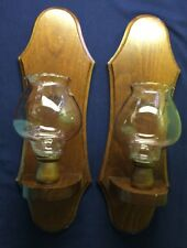 Pair of Wall Hanging Sconces Solid Wood Candle Holders with Glass Votives
