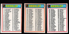 1978 OPC LOT of 3 NHL HOCKEY CHECKLISTS NM o-pee-chee 24 259 297