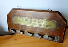 Antique Dutch Wall Wood Pipe Stand Holder Brass Plaque